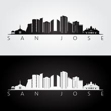 San Jose, Costa Rica Skyline And Landmarks Silhouette, Black And White Design, Vector Illustration.