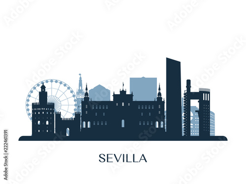 Sevilla skyline, monochrome silhouette. Vector illustration.