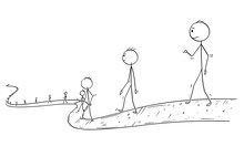 Cartoon Stick Drawing Conceptual Illustration Of Line Of People Or Businessmen Walking On The Path Ending In Infinity.
