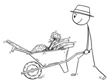Cartoon Stick Drawing Conceptual Illustration Of Gardener Going To Plant A Tree And Pushing Wheelbarrow With Equipment And Tools.