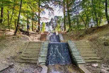 Biggest two waterfalls of the Netherlands called 'De Watervallen van de Vrijenberger Spreng' or 'Loenense waterval' in the forest near Loenen (Veluwe)