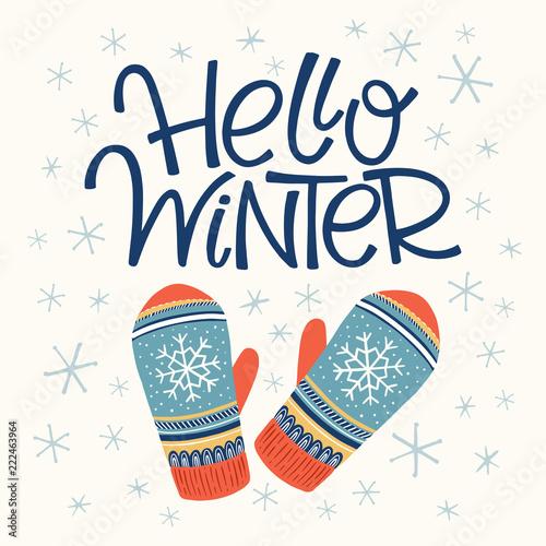 Staande foto Retro sign Hello winter card