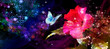 Leinwandbild Motiv night blooming rose hibiscus witch flying butterfly