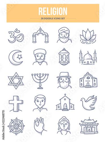 Fototapeta Religion Doodle Icons obraz