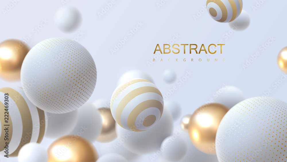 Fototapeta Falling white and golden soft spheres. Vector realistic illustration. Abstract background with 3d geometric shapes. Modern cover design. Ads banner template. Dynamic wallpaper with balls or particles