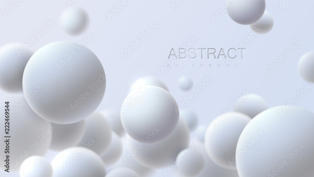Fototapety, obrazy: Falling white soft spheres. Vector realistic illustration. Abstract background with 3d geometric shapes. Modern cover design. Ads banner template. Dynamic wallpaper with balls or particles.