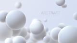 Spadające białe miękkie kule. Realistyczne ilustracji wektorowych. Abstrakcjonistyczny tło z 3d geometrycznymi kształtami. Nowoczesny projekt okładki. Szablon bannera reklamowego. Dynamiczna tapeta z kulkami lub cząsteczkami.