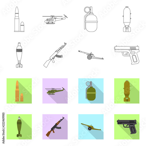 Vector Design Of Weapon And Gun Sign Set Of Weapon And Army Stock