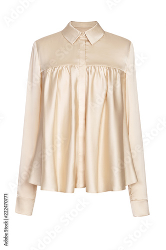 Photo Women's  silk beige blouse isolated on white background.