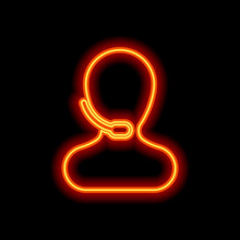 Person With Microphone. Call Center. Orange Neon Style On Black