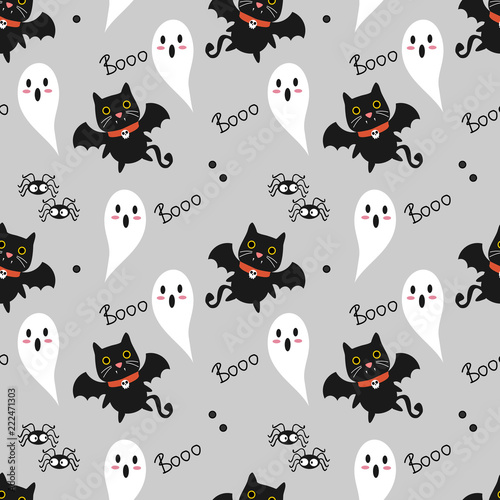 Foto op Canvas Kunstmatig Cute vampire cat seamless pattern. Cute Halloween concept.
