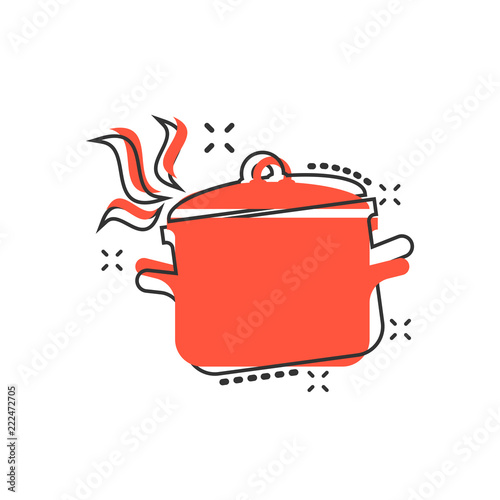 Carta da parati Vector cartoon cooking pan icon in comic style