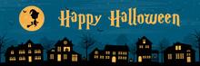 Happy Halloween Banner Mit Hexen, Stadt Silhouette Und Kürbisse