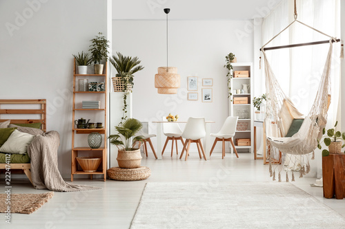 Hammock and plants in white apartment interior with lamp above dining table and chairs Canvas Print