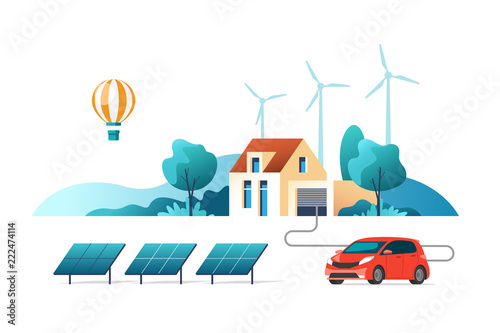 Printed kitchen splashbacks Light blue Concept of eco friendly alternative energy. House with solar panel and wind turbines. Vector illustration.