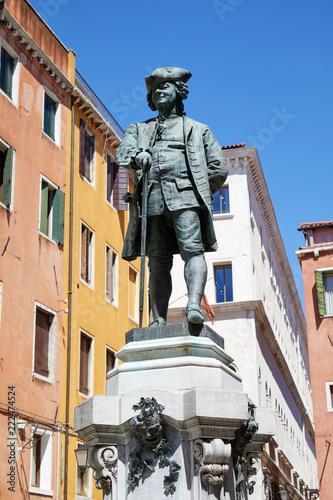 Tuinposter Historisch mon. Carlo Goldoni statue with pedestal by Antonio Dal Zotto (1841-1918) in Venice, Italy