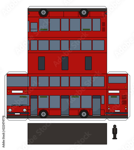 The simple paper model of a red double decker Wallpaper Mural