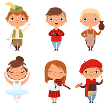 Cartoon Kids Boys And Girls Of Different Creative Professions. Vector Of Photographer And Potter, Ballerina And Musician Illustration