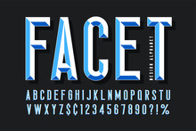 Original Display Font With Facets, Alphabet, Letters And Numbers