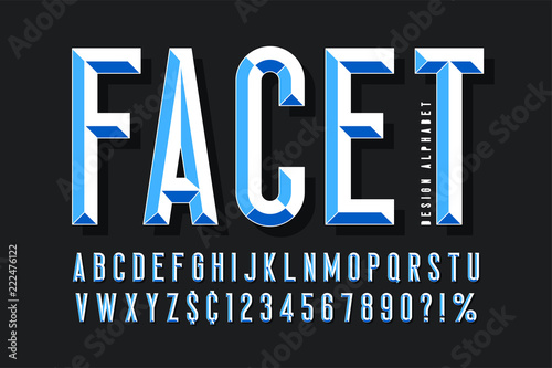 Original display font with facets, alphabet, letters and numbers Canvas-taulu
