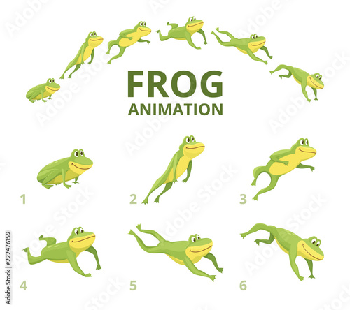 Frog jumping animation Wallpaper Mural