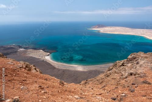 Foto op Aluminium Zalm view of the graciosa island from the mirador del rio