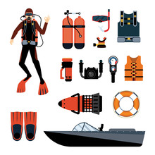 Scuba Diver With Scuba Gear An...