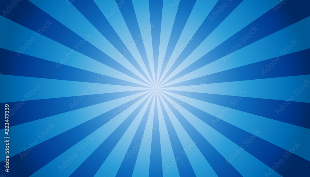 Fototapeta Blue Sunburst Background - Vector Illustration