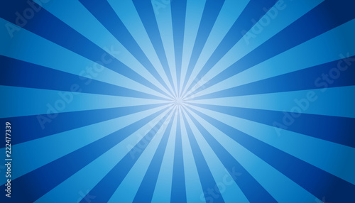 Fotografie, Obraz  Blue Sunburst Background - Vector Illustration