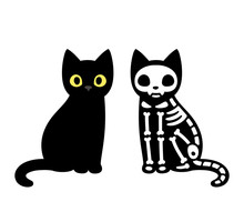 Cartoon Cat Skeleton