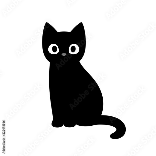 Cute cartoon black cat - 222478566
