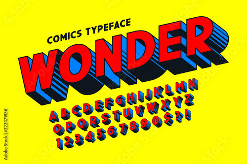 Fotografía  Trendy 3d comical font design, colorful alphabet, typeface.