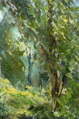 Fototapeta Do hotelu fragment of oil painting and palette knife close-up impressionism illustration - Summer green spring trees and foliage fine art