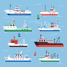 Flat Fishing Boats. Commercial Fishery Ships, Seafood Industry Ship And Fisher Boat Vector Collection