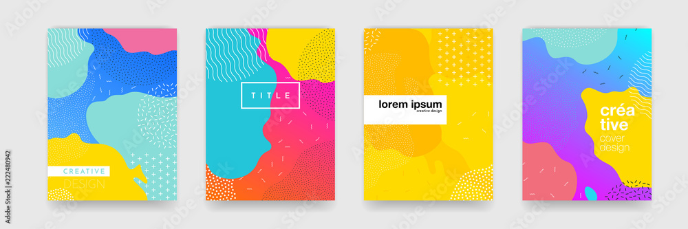 Fototapeta Geometric pattern background texture for poster cover design. Minimal color gradient banner template. Modern vector wave shape for brichure