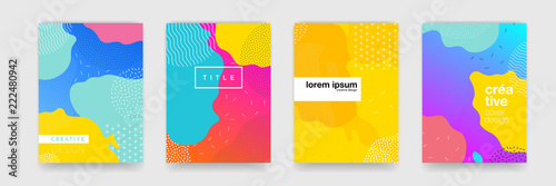 Geometric pattern background texture for poster cover design. Minimal color gradient banner template. Modern vector wave shape for brichure