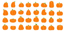 Cartoon Orange Pumpkin. Halloween October Holiday Decorative Pumpkins. Yellow Gourd, Healthy Squash Vegetable Vector Illustration Set