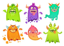 Cartoon Monster Ghost. Angry S...