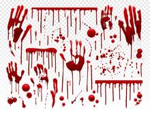 Blood Drip. Red Paint Splash, Halloween Bloody Splatter Spots And Bleeding Hand Traces. Dripping Bloods Horror Texture Vector Set