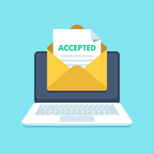 Accepted Email In Envelope. College Acceptance Success Or University Admission Letter. Mail In Laptop Inbox Vector Illustration