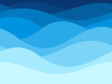 Blue Waves Pattern. Summer Lake Wave, Water Flow Abstract Vector Seamless Background