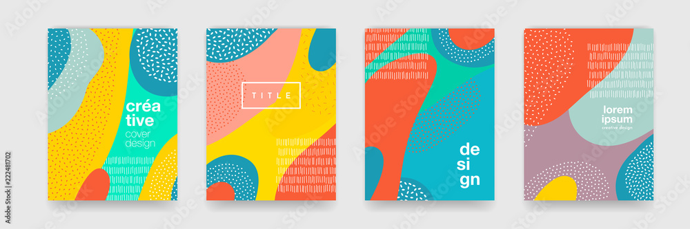 Fototapety, obrazy: Abstract fun color pattern cartoon texture for doodle geometric background. Vector trend shape for brochure cover template design