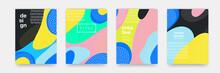 Wavy Blue, Orange, Black, Pink Color Gradient Pattern On White Background. Vector Trend Shape For Brochure Cover Template Design