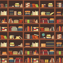 Books In Bookcase Seamless Pattern. School Book, Science Textbook And Magazines At Bookshelf. College Textbooks Vector Background