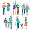 Family couples. Father and mother with children, brother and sister. Members of homosexual families, young or elderly couple vector set