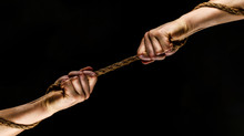 Rescue, Help, Helping Gesture Or Hands. Conflict, Tug Of War. Two Hands, Helping Hand, Arm, Friendship. Teamwork, Friendship. Rope, Cord. Hand Holding A Rope, Climbing Rope, Strength And Determination