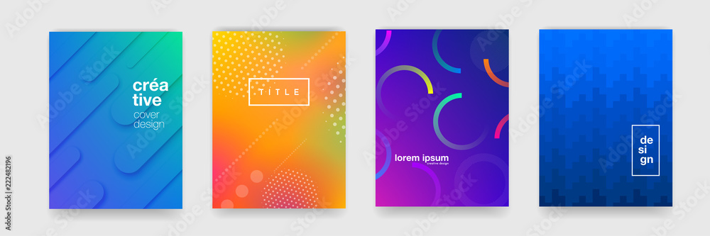 Fototapety, obrazy: Abstract trendy gradient flowing geometric pattern background texture for poster cover design. Minimal color gradient banner template. Modern vector wave shape for brichure