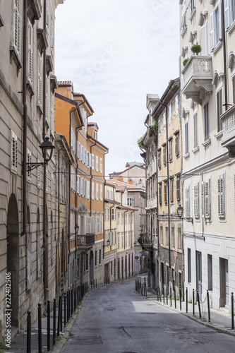 Narrow street in Trieste, Italy