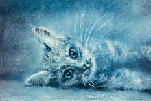 Beautiful Young Cat, Kitten - Contemporary Oil Painting, Illustration