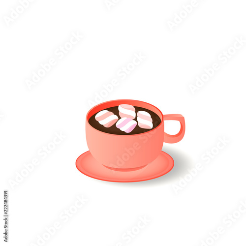 Fotografie, Obraz  Cup and saucer. Dark coffee with marshmallow.